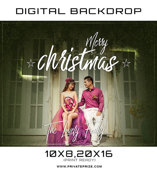 Merry Christmas The Lovely Family Digital Backdrop Template - Photography Photoshop Templates