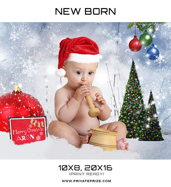New Born Christmas Props - Digital Backdrop - Photography Photoshop Template