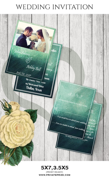 J & A Wedding Invitation Card - Photography Photoshop Template