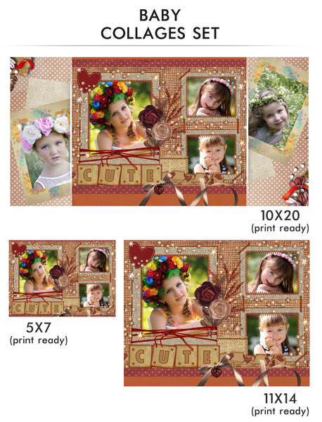 Baby Collage Set - Cute Baby - Photography Photoshop Templates