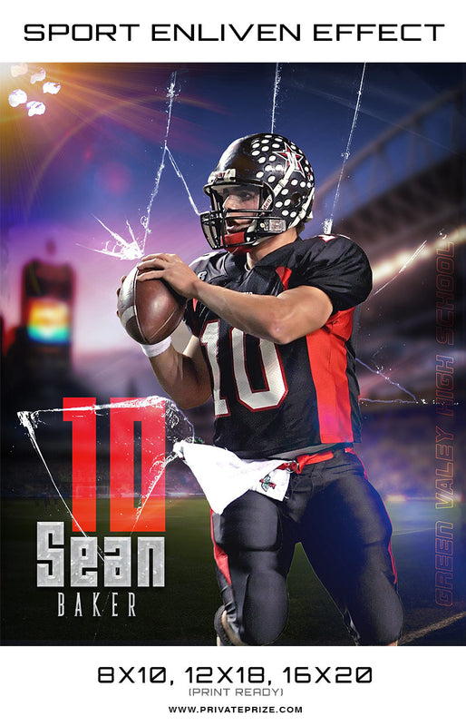 Sean Baker Football Glass Broken Sports Template -  Enliven Effects - Photography Photoshop Template