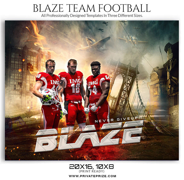 Blaze Themed Sports Template - sports photography photoshop templates