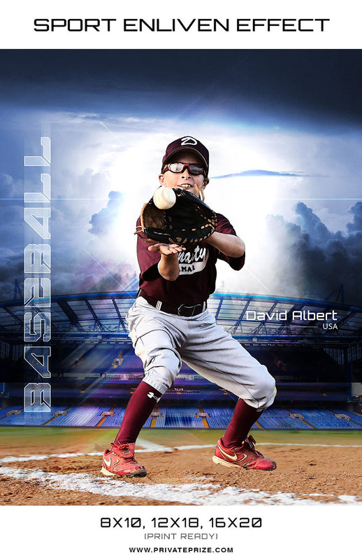 David Albert Baseball High School Sports - Enliven Effects - Photography Photoshop Template