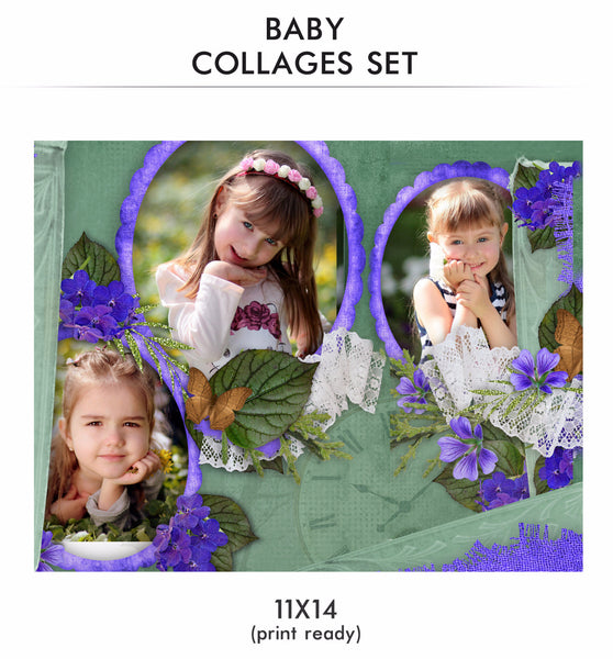 Baby Collage Set - Lavendar - Photography Photoshop Templates