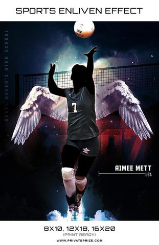 Aimee Volleyball Angel Queens High School Sports Template -  Enliven Effects