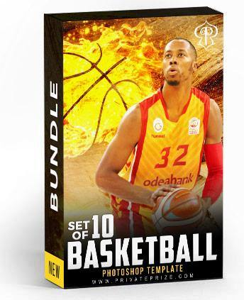 Set of 10 June - Basketball Bundle Photography Photoshop Template
