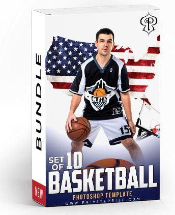 Set of 10 October - Basketball Bundle Photography Photoshop Template