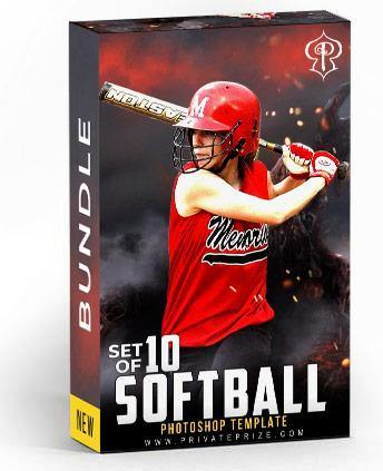 Set of 10 October - Softball Bundle Photography Photoshop Template