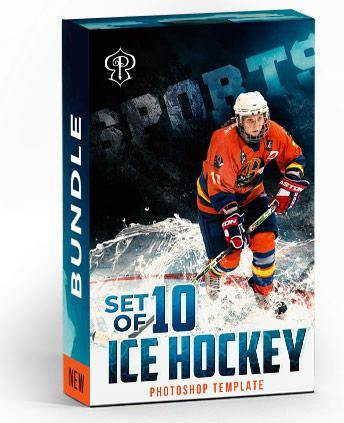 Best Selling Ice Hockey Bundle Photography Photoshop Template