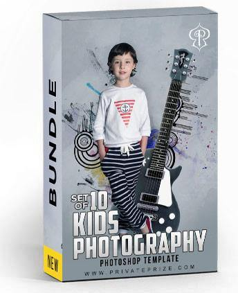 Best Selling Kids Bundle Photography Photoshop Template - PrivatePrize - Photography Templates