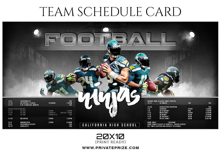 Football ninjas team sports schedule card photoshop templates for Sports team photography templates