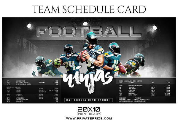 Football Ninjas Team Sports Schedule Card Photoshop Templates - Photography Photoshop Template