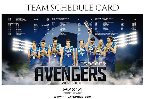 SOCCER AVENGERS - SPORTS SCHEDULE CARD
