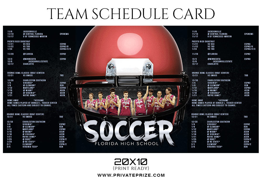 soccer sports team sports schedule card photoshop templates
