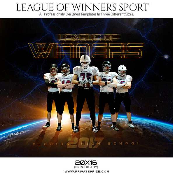 League of Winners Themed Sports Template - Photography Photoshop Templates