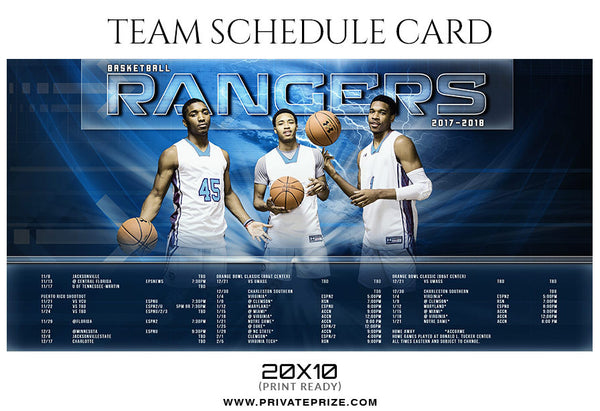 BASKETBALL RANGERS - SPORTS SCHEDULE CARD - Photography Photoshop Template