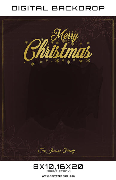 Merry Christmas Johnson Family Digital Backdrop Template - Photography Photoshop Templates