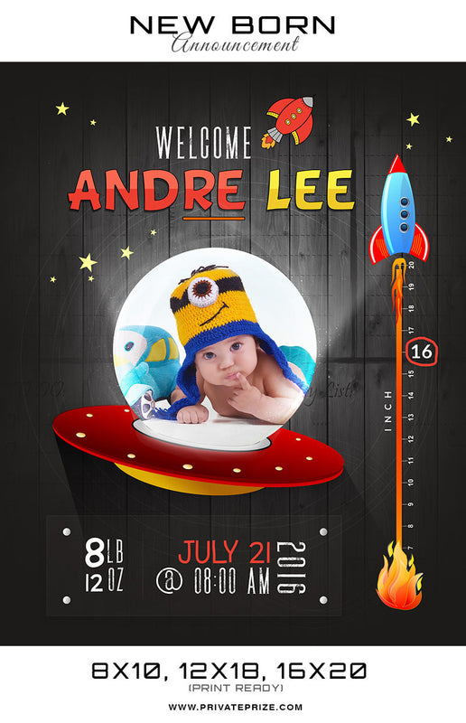 New Born Announcement - Spaceship Theme - Photography Photoshop Templates