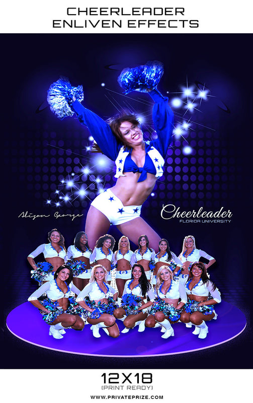 Florida Cheerleader - Enliven Effects Photoshop Template - Photography Photoshop Templates