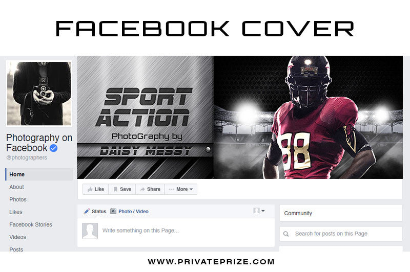 Facebook Timeline Cover Sport Action - Photography Photoshop Template