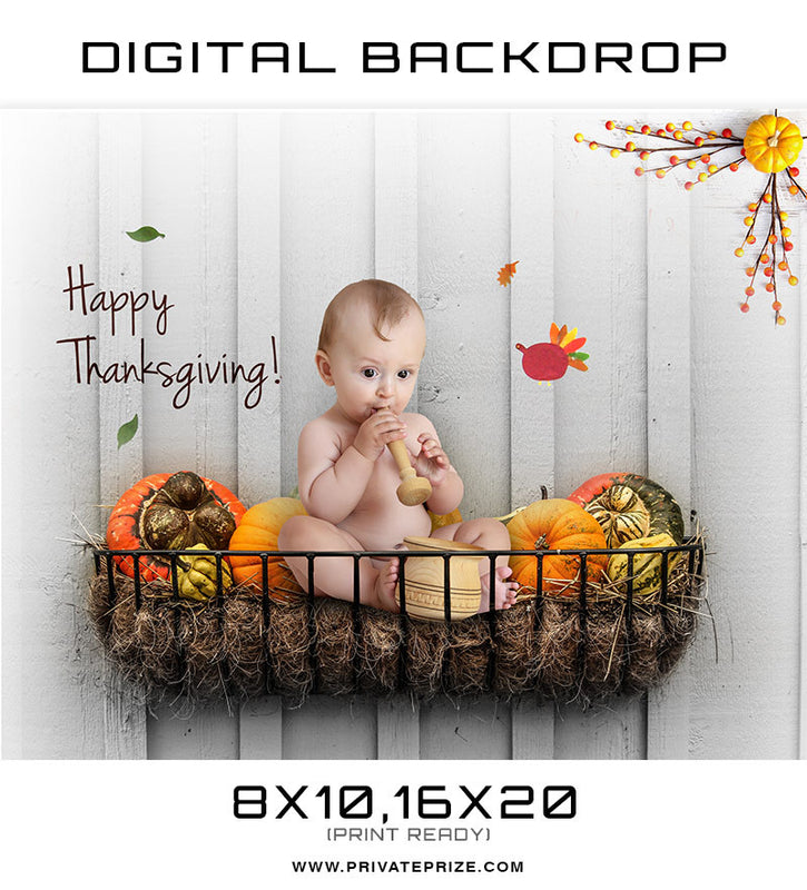 Thanksgiving  Digital Background Template - Photography Photoshop Templates