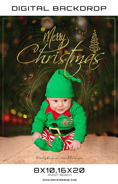 Merry Christmas Kristina Williams Digital Backdrop Template - Photography Photoshop Templates