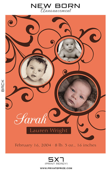New Born Announcement - Photography Photoshop Templates
