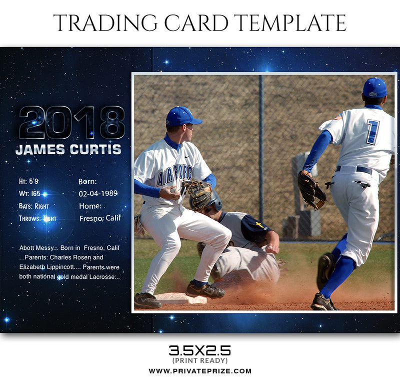 Camden Jayce - Basketball Sports Trading Card Template - Photography Photoshop Template