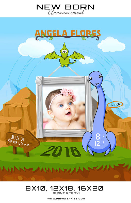 New Born Announcement - Dinosaur Theme - Photography Photoshop Templates