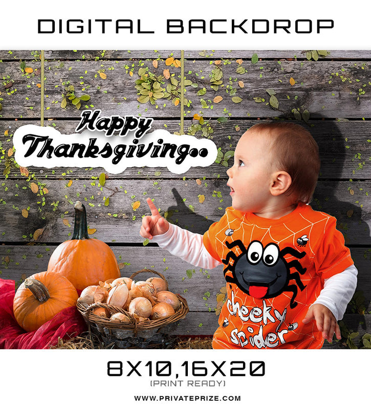 Thanksgiving Pumpkin and Cheeky Spider Digital Background Template - Photography Photoshop Template