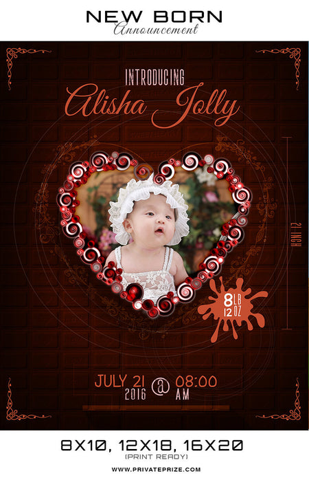 New Born Announcement - Chocolate Theme - Photography Photoshop Template