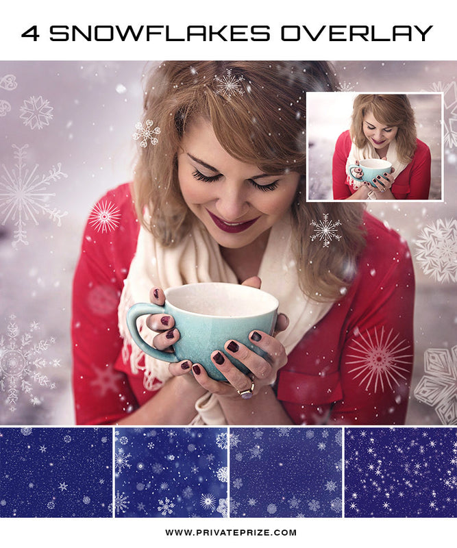 Set of 4 Snowflakes Overlay - Winter and Christmas prop - Photography Photoshop Template