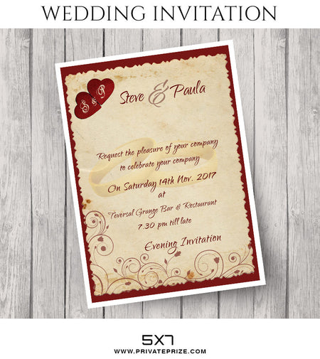 Steve and Paula Wedding Invitation Card - Photography Photoshop Template
