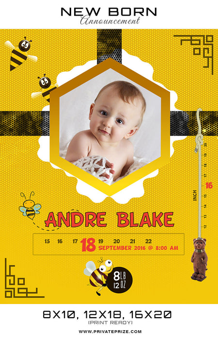 New Born Announcement - Honey Bee Theme - Photography Photoshop Template