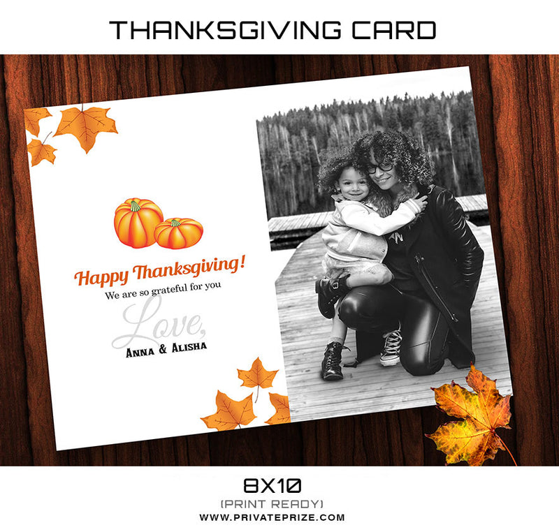 Thanksgiving  Card Template - Photography Photoshop Template