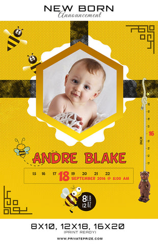 New Born Announcement - Honey Bee Theme