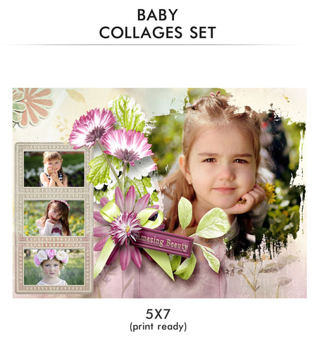 Baby Collage Set - Amazing Beauty - Photography Photoshop Template