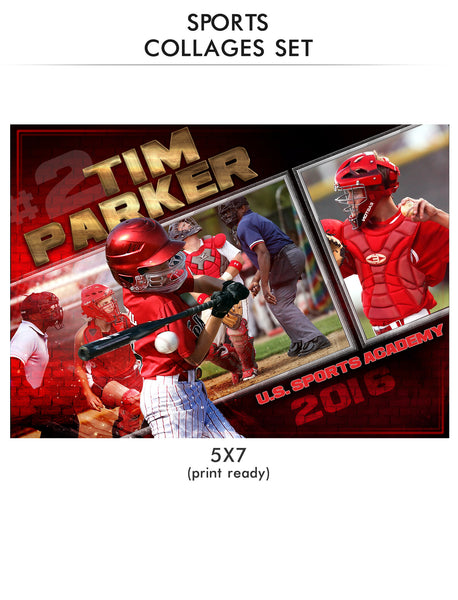 Parker - Sports Collage Photoshop Template - Photography Photoshop Templates