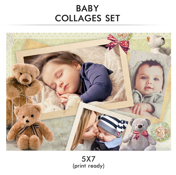 Baby Collage Set - Little One - Photography Photoshop Templates