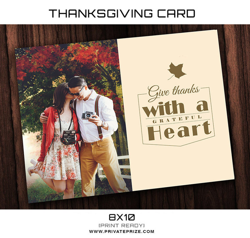 Thanksgiving  Card Couple Template - Photography Photoshop Template