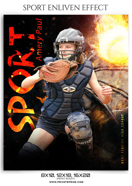 Amery Paul- Softball-Sports Photography Template-Enliven Effects - Photography Photoshop Template