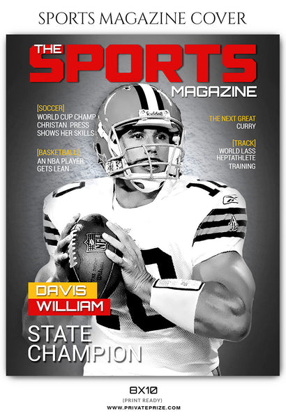 Davis Williams - Football Sports Photography Magazine Cover - Photography Photoshop Template