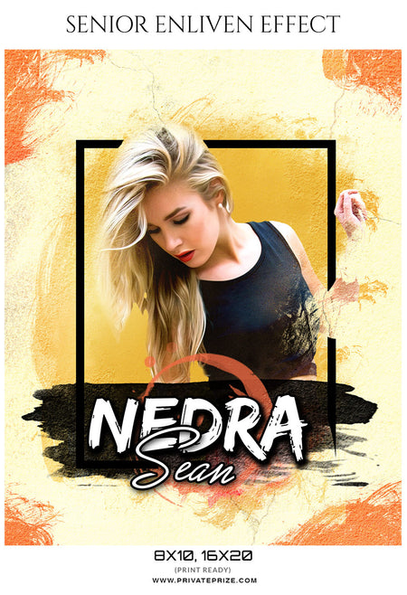 Nedra Sean  - Senior Enliven Effect Photography Template - Photography Photoshop Template