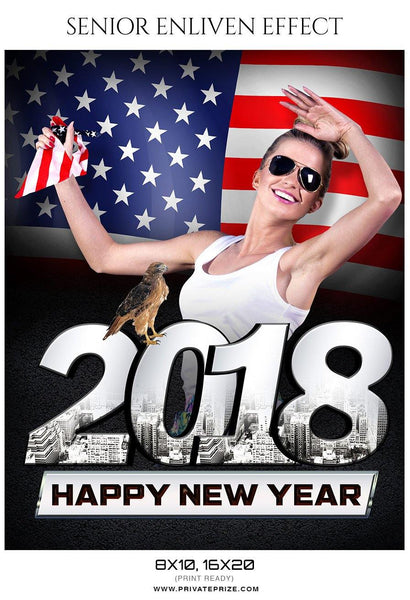 2018 Happy New Year - Senior Enliven Effect Photography Template - Photography Photoshop Template