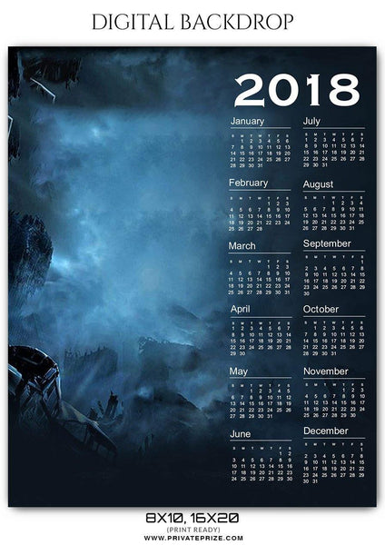 Calendar 2018 - Digital Backdrop Sport Photography Template