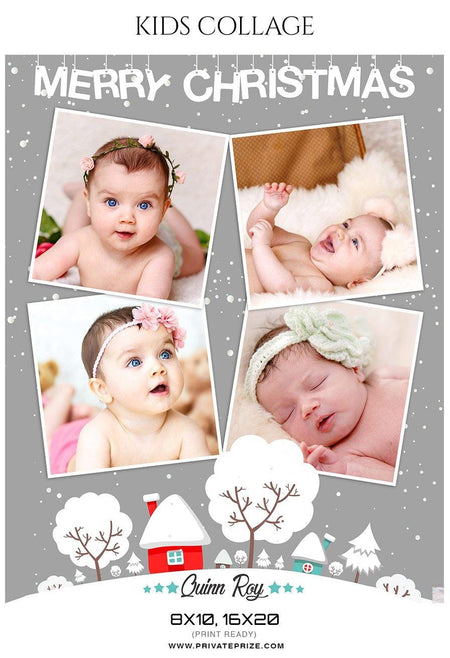 Quinn Roy - New Born Baby Collage - Photography Photoshop Template