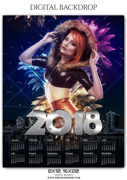Calendar 2018 - Digital Backdrop - Photography Photoshop Template