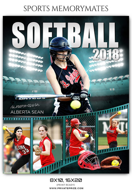 Alberta Sean Softball Sports Memory Mates Photoshop Template - Photography Photoshop Template