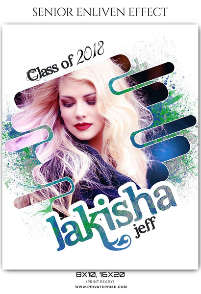 Lakisha Jeff - Senior Enliven Effect Photography Template - Photography Photoshop Template
