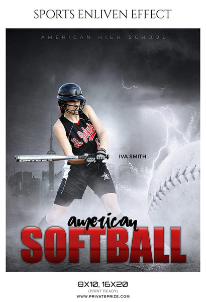 Iva Smith - Softball Sports Enliven Effect Photography Template